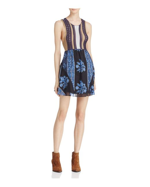 Free People | Blue Katie Crochet-bodice Mini Dress | Lyst