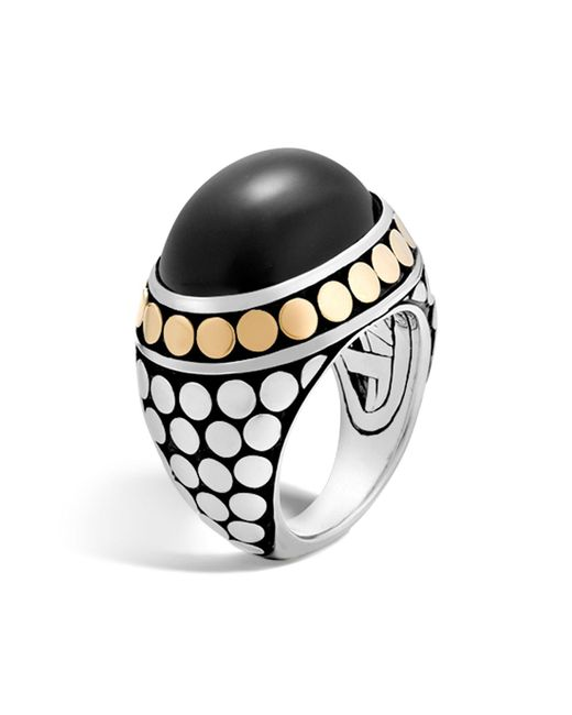 John Hardy   Metallic 18k Yellow Gold And Sterling Silver Dot Dome Ring With Black Onyx   Lyst