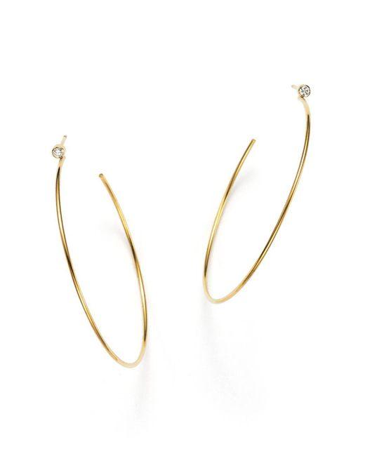 Zoe Chicco - Metallic 14k Gold Hoop Earrings With Bezel Set Diamonds - Lyst