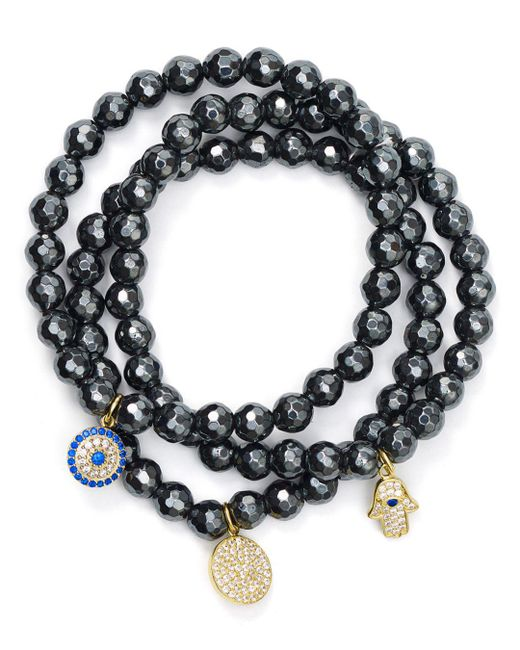 Aqua - Black Beaded Bracelets In Gold Tone-plated Sterling Silver And Hematite Tone-plated Sterling Silver - Lyst