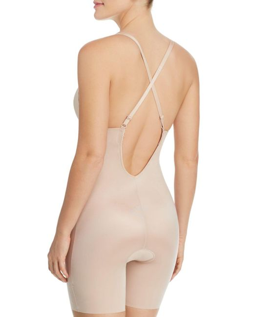 735c1863c60 ... Spanx - Natural Suit Your Fancy Plunge Low - Back Mid - Thigh Bodysuit  - Lyst ...