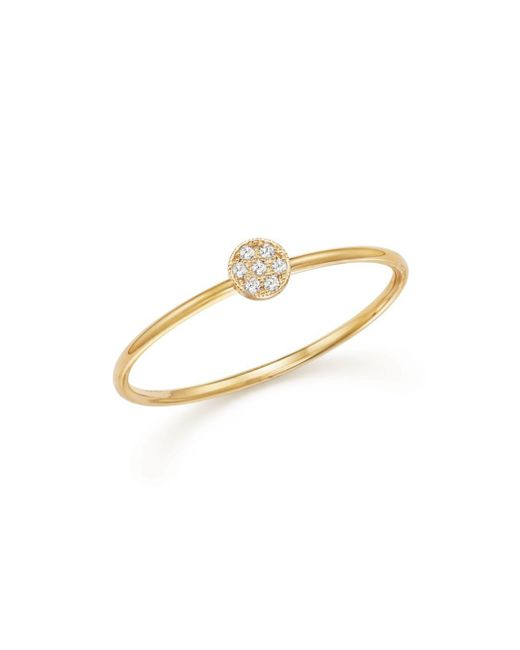 Zoe Chicco - Metallic 14k Yellow Gold Itty Bitty Round Disc Pavé Diamond Stack Ring - Lyst