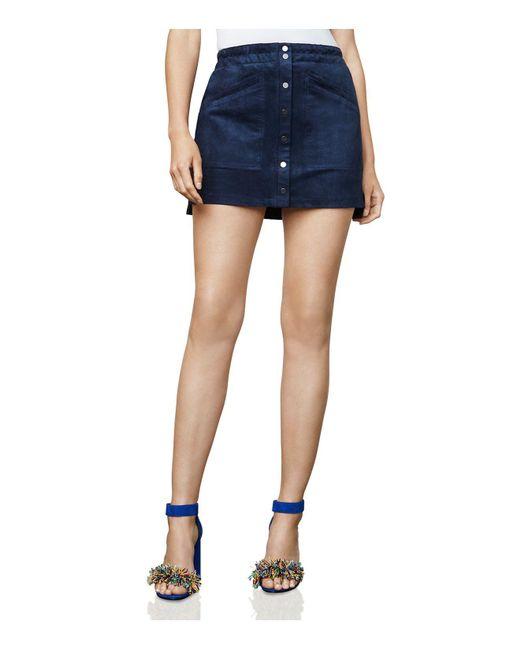 BCBGMAXAZRIA | Blue Mora Faux-suede A-line Mini Skirt | Lyst