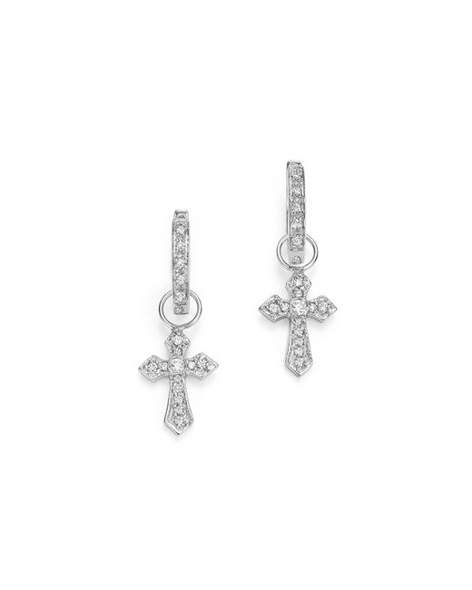 KC Designs | 14k White Gold Diamond Cross Charm Hoop Earrings | Lyst