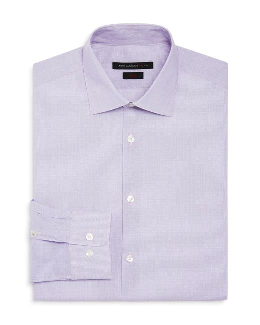 John Varvatos - Purple Micro Stripe Square Slim Fit Stretch Dress Shirt for Men - Lyst