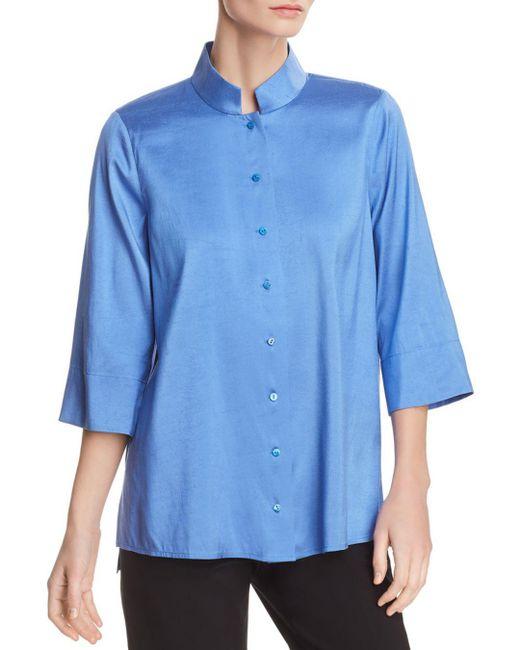 Eileen Fisher - Blue Silk Mandarin-collar Top - Lyst