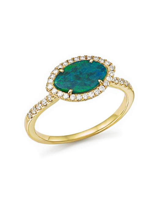 Meira T - Metallic 14k Yellow Gold Opal Marquise Ring With Diamonds - Lyst