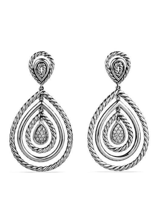 David Yurman - Metallic Cable Classics Teardrop Earrings With Diamonds - Lyst