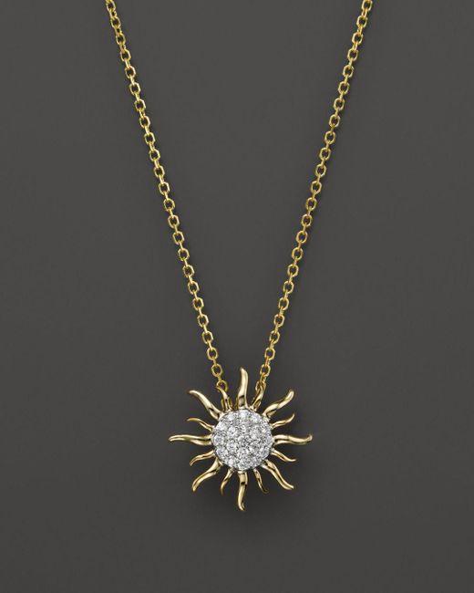 Bloomingdale's - Metallic Diamond Sun Pendant Necklace In 14k Yellow Gold, .10 Ct. T.w. - Lyst