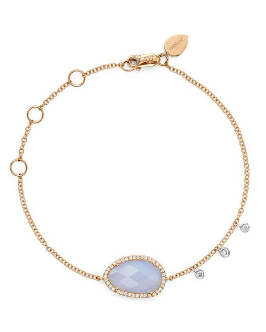 Meira T - Multicolor 14k Rose And White Gold Chalcedony Bracelet With Diamonds - Lyst