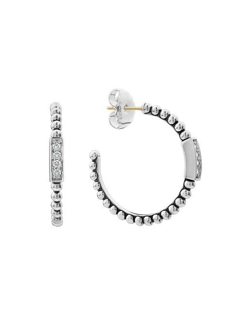 Lagos - Metallic Sterling Silver Caviar Spark Diamond Hoop Earrings - Lyst