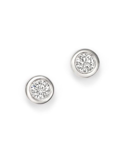 KC Designs - Metallic 14k White Gold Diamond Bezel Stud Earrings - Lyst