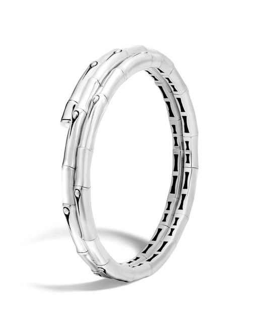 John Hardy | Metallic Bamboo Sterling Silver Small Double Coil Bracelet | Lyst