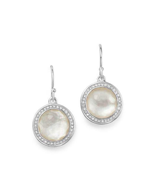 Ippolita - Metallic Sterling Silver Lollipop Diamond & Mother-of-pearl Doublet Drop Earrings - Lyst