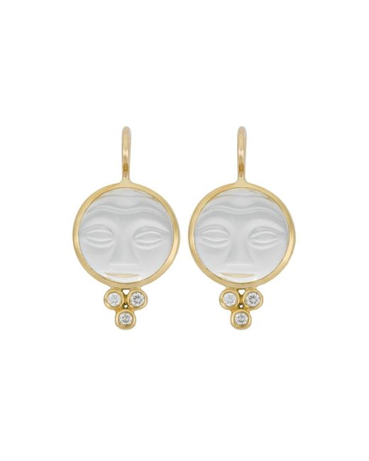 Temple St. Clair | Metallic 18k Yellow Gold Moonface Earrings With Rock Crystal And Diamond Granulation | Lyst
