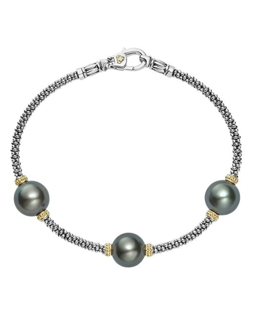 Lagos - Metallic 18k Gold And Sterling Silver Luna Cultured Freshwater Black Pearl Triple Station Bracelet - Lyst