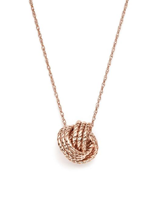 """Bloomingdale's - Metallic 14k Rose Gold Twisted Love Knot Necklace, 18"""" - Lyst"""