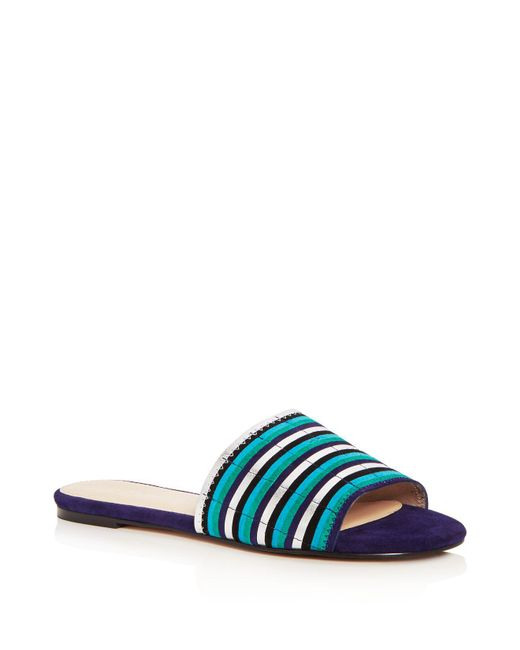 Botkier - Blue Women's Marley Suede Stripe Slide Sandals - Lyst