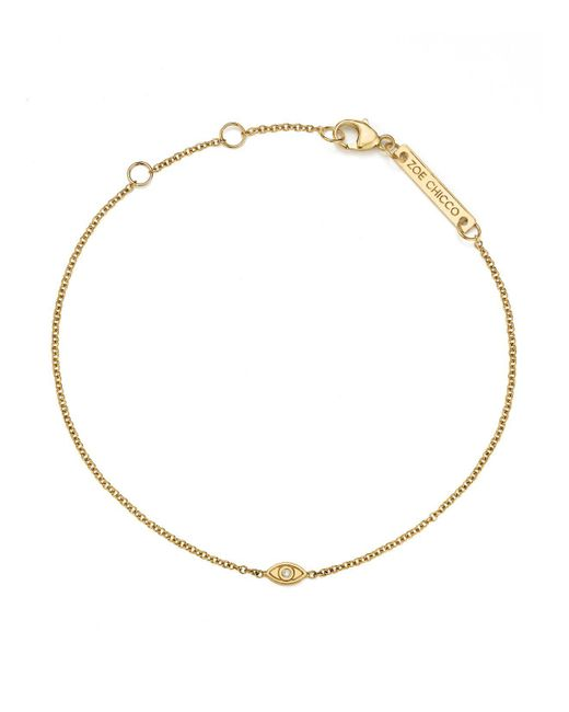 Zoe Chicco | Metallic 14k Yellow Gold Itty Bitty Diamond Evil Eye Bracelet | Lyst