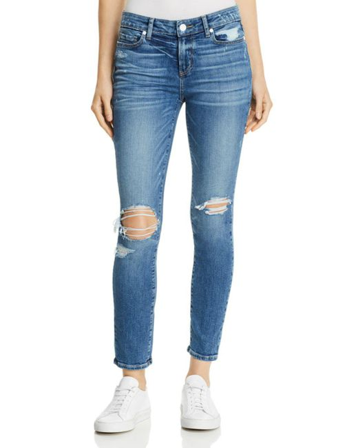 PAIGE - Blue Verdugo Ankle Skinny Jeans In Embarcadero Destructed - Lyst