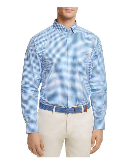 Lyst vineyard vines stowaway gingham button down classic for Blue gingham button down shirt