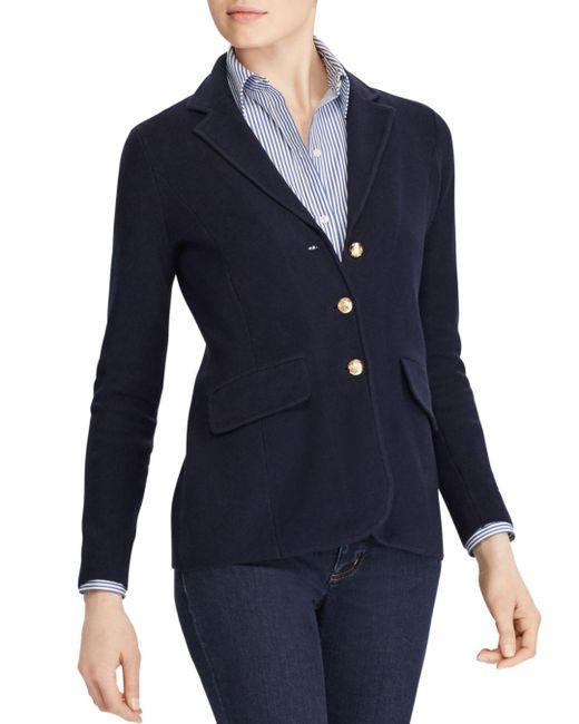 Ralph Lauren - Blue Lauren Knit Sweater Blazer - Lyst
