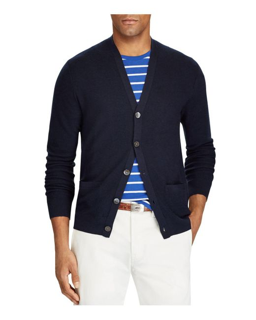 Polo Ralph Lauren - Blue Merino-silk-cashmere Cardigan Sweater for Men - Lyst