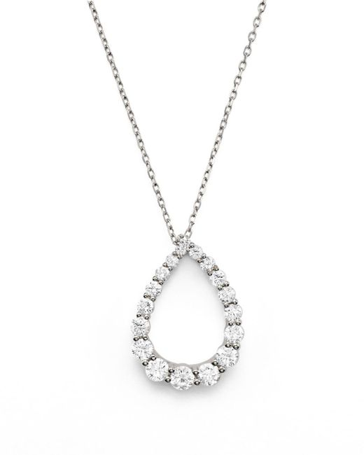 Bloomingdale's - Diamond Graduated Teardrop Pendant Necklace In 14k White Gold, .90 Ct. T.w. - Lyst