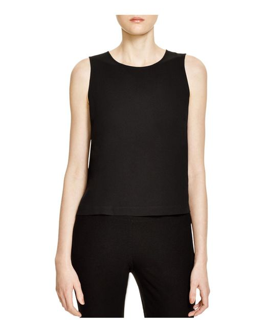 Eileen Fisher | Black System Silk Crop Top | Lyst
