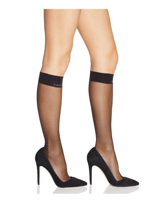 Calvin Klein | Black Matte Ultra Sheer Knee-highs | Lyst