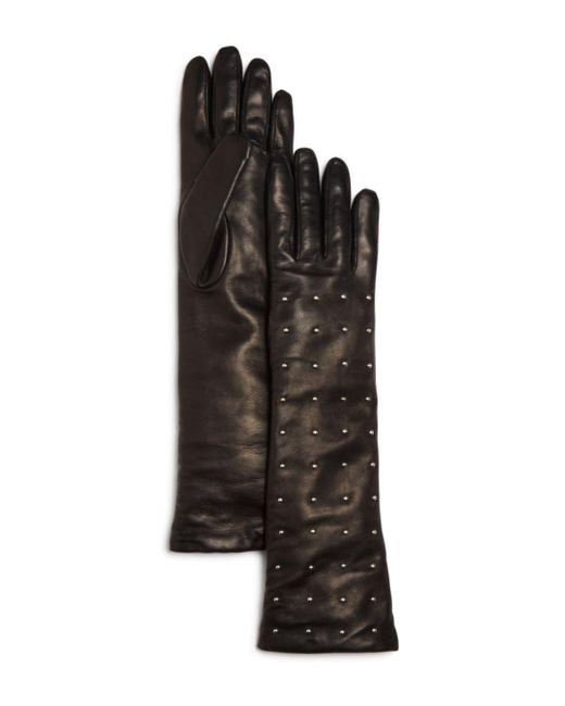 Bloomingdale's - Black Cashmere Lined Studded Long Gloves - Lyst