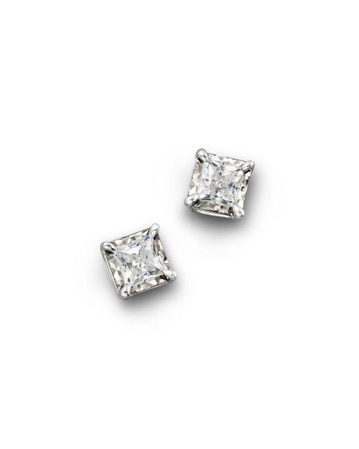 Bloomingdale's - White Diamond Princess Cut Stud Earrings, .50 Ct. T.w. - Lyst