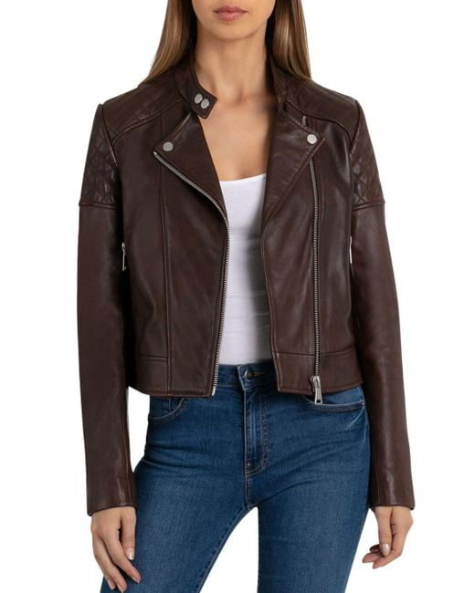 BAGATELLE.NYC - Brown Quilted Leather Moto Jacket - Lyst