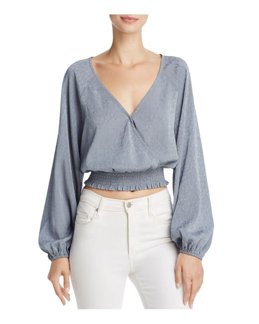 June & Hudson - Blue Cropped Wrap Top - Lyst