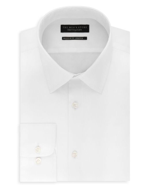 Bloomingdale's - White Solid Stretch Regular Fit Dress Shirt for Men - Lyst