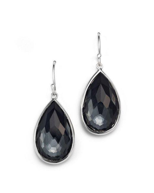 Ippolita | Gray Sterling Silver Rock Candy® Medium Pear Wire Earrings In Clear Quartz And Hematite | Lyst