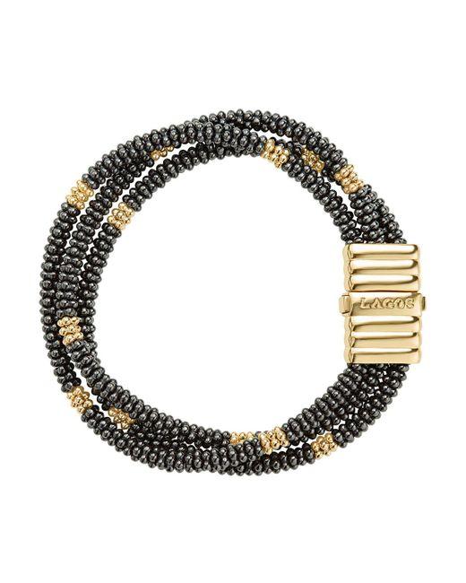 Lagos - Metallic Gold & Black Caviar Collection 18k Gold & Ceramic Beaded Multi-strand Bracelet - Lyst