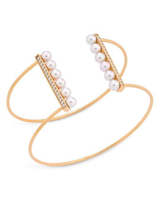 Majorica - Yellow Sterling Silver Imitation Pearl & Cubic Zirconia Wire Cuff Bracelet - Lyst