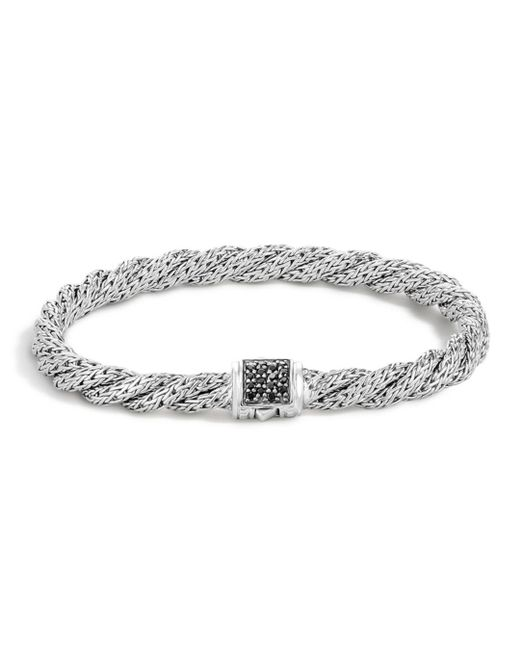 John Hardy - Metallic Classic Chain Sterling Silver Lava Extra Small Flat Twisted Chain Bracelet With Black Sapphire - Lyst