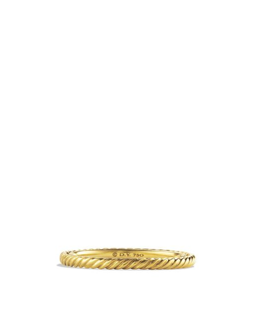 David Yurman | Metallic Cable Classics Band Ring In 18k Gold | Lyst