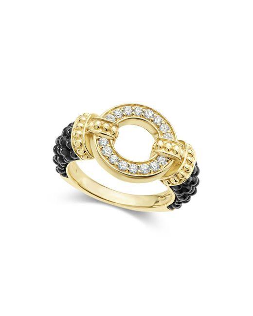 Lagos - Metallic Circle Game Black Caviar Ceramic Ring With Diamonds And 18k Gold - Lyst