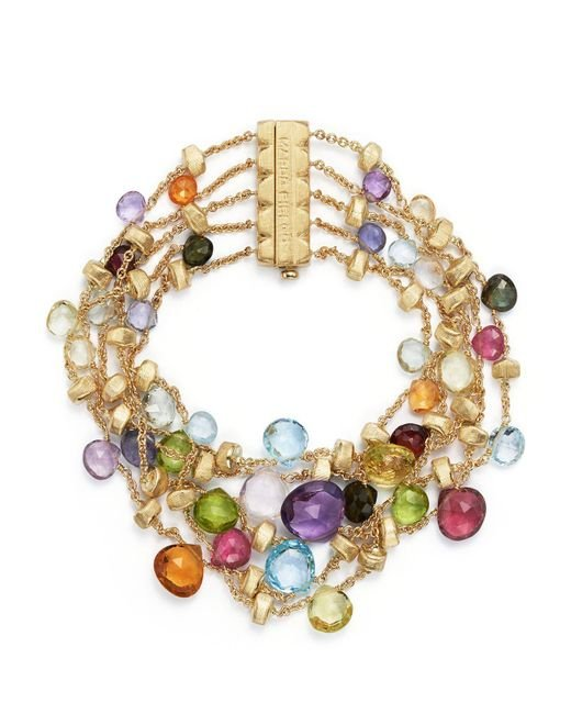 Marco Bicego | Multicolor 18k Yellow Gold Paradise Five Strand Mixed Stone Bracelet | Lyst