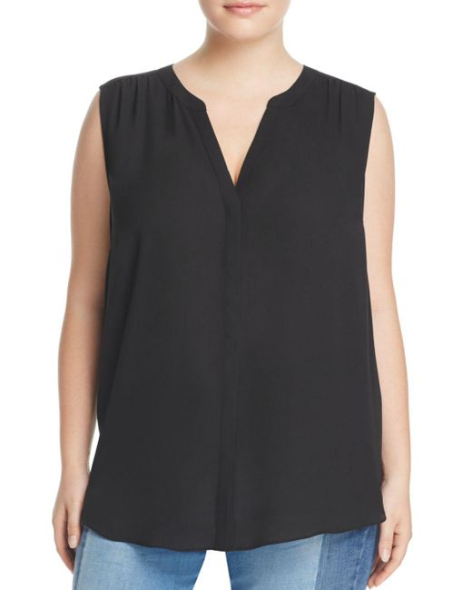 NYDJ - Black Sleeveless Pleat Back Blouse - Lyst