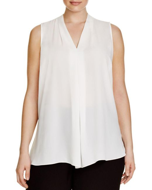 Vince Camuto Signature - White Pleat Top - Lyst