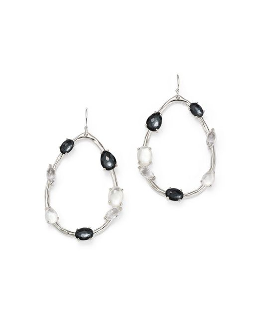 Ippolita - Metallic Hematite Doublet And Clear Quartz Open Drop Earrings In Piazza - Lyst