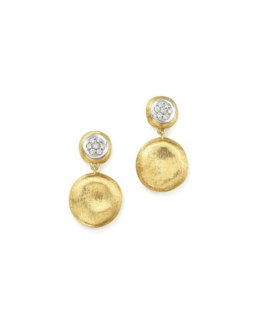 Marco Bicego - Metallic 18k White & Yellow Gold Diamond Pavé Jaipur Link Drop Earrings - Lyst