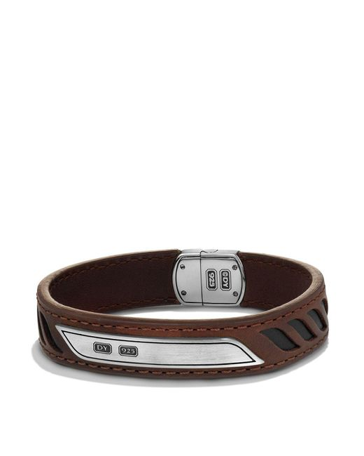 David Yurman - Graphic Cable Leather Id Bracelet In Brown for Men - Lyst