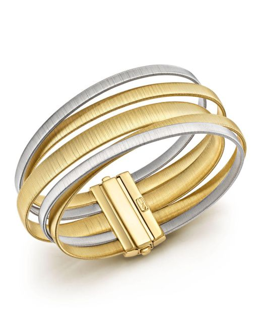 Marco Bicego - Metallic 18k White & Yellow Gold Masai Five Strand Crossover Bracelet - Lyst