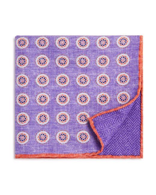 Bloomingdale's - Purple Circle Medallion/herringbone Pocket Square for Men - Lyst