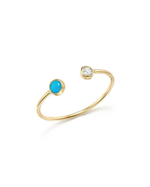 Zoe Chicco | Multicolor 14k Yellow Gold Open Ring With Bezel Set Turquoise And Diamond | Lyst